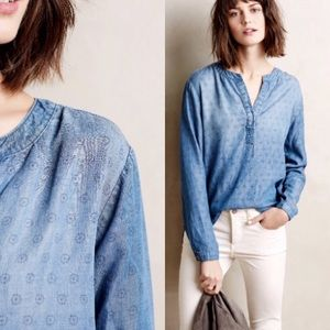 CLOTH & STONE Blue Dotted Chambray Henley Popover